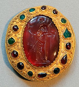 Carnelian intaglio with a Ptolemaic queen hold...