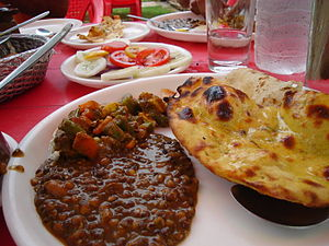 Food at a local outdoor Dhaba in Punjab.