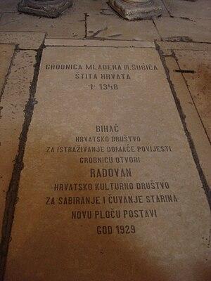English: Mladen III Šubić of Bribir gravestone...