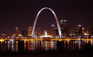 Skyline night view of St. Louis, Missouri.