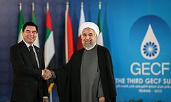 Berdimuhamedow with Iranian President Hassan Rouhani during the Third GECF summit.