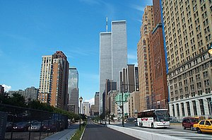 English: World Trade Center and surrounding bu...