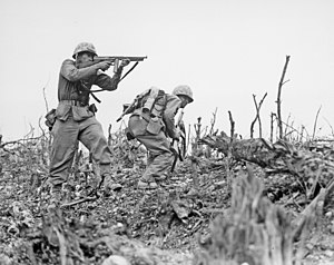 Two Marines from the 2nd Battalion, 1st Marines advance on Wana Ridge on May 18, 1945