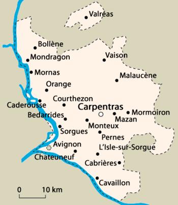 Limits of Comtat venaissin in France