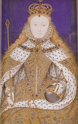 Elizabeth I of England in her coronation robes...