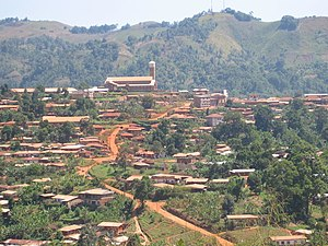 A view of Kumbo, Cameroon with the Catholic Ca...