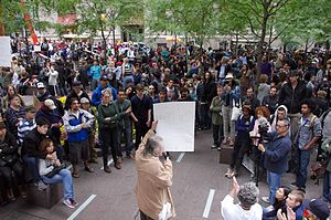 Protesters at the Occupy Wall Street protest i...