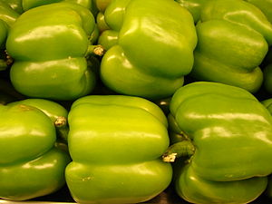 Capsicum annuum (green bell pepper). Location:...
