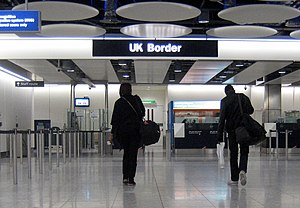 English: The UK Border at Heathrow Airport