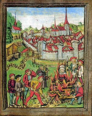 Queima de uma bruxa na fogueira na localidade de Willisau, Su�ça (em 1447).