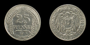 Coins of the German Empire (1871-1918), 25 Pfe...