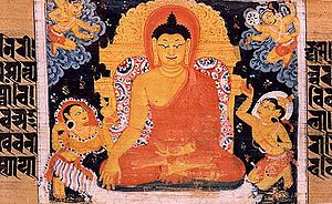 Painting of Gautama Buddha sitting in Dhyana, ...