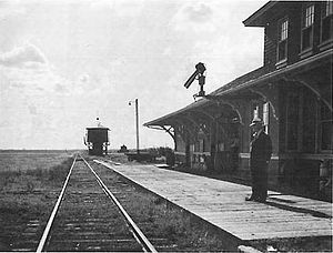Canadian National Railways station in Eatonia,...