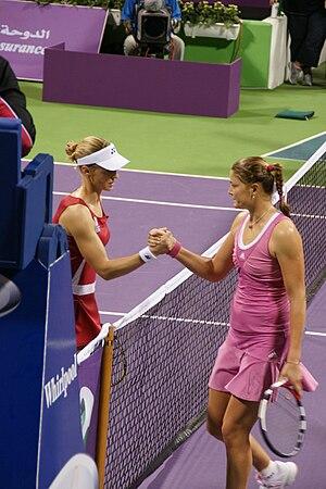 Elena Dementieva shaking hands with Dinara Saf...