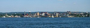 This photograph of the skyline of Erie, Pennsy...