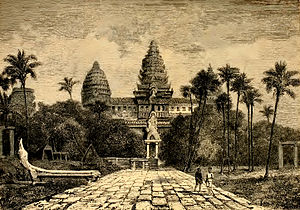 English: Facade of Angkor Wat, a drawing by He...