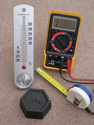 English: Four metric measuring devices - a tap...
