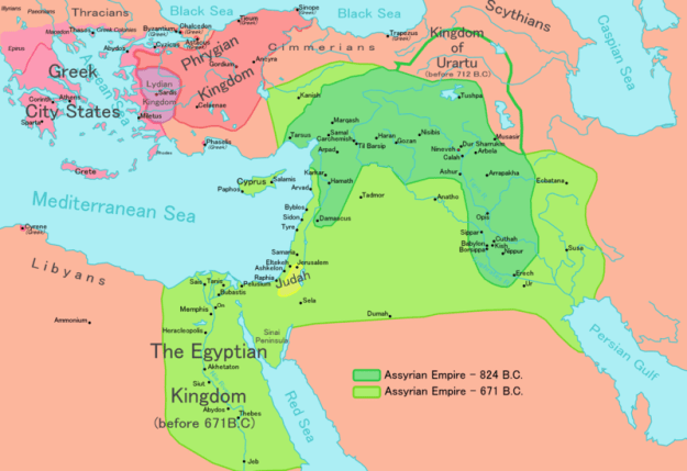 Map of Assyria Empire