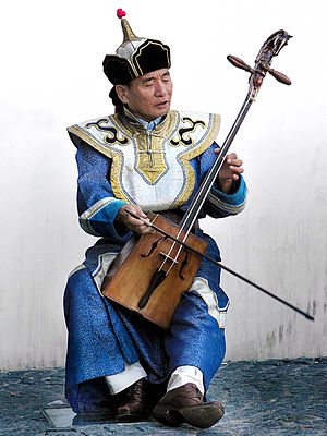 Musician playing the traditional Mongolian mus...