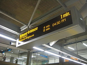 This image shows a screen that tells passenger...