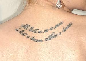 Evan Rachel Wood's back tattoo at the 2009 Tri...