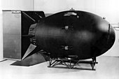 "Replica of the ""Fat Man"" nuclear bomb dropped on Nagasaki, Japan, on August 9, 1945"