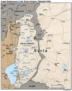 Map of Israeli settlements in the Golan Height...