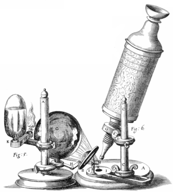 Hooke's microscope, from an engraving in Micrographia