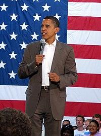 Obama hablando en un mitin en Conway, Carolina del Sur el 23 de agosto, 2007