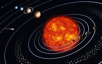 Gambaran umum Tata Surya (digambarkan tidak sesuai skala; dari kiri ke kanan): Pluto, Neptunus, Uranus, Saturnus, Yupiter, sabuk asteroid, Matahari, Merkurius, Venus, Bumi dan Bulan, dan Mars. Sebuah komet digambarkan di sebelah kiri.