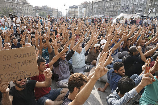 Syrian refugees strike in front of Budapest Keleti railway station. Refugee crisis. Budapest, Hungary, Central Europe, 3 September 2015