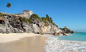 English: The largest building of the Tulum com...