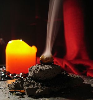 Incense. Frankincense on coal.