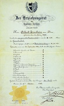 "Einstein's matriculation certificate at the age of 17. The heading reads ""The Education Committee of the Canton of Aargau."" His scores were German 5, French 3, Italian 5, History 6, Geography 4, Algebra 6, Geometry 6, Descriptive Geometry 6, Physics 6, Chemistry 5, Natural History 5, Art Drawing 4, Technical Drawing 4. The scores are 6 = excellent, 5 = good, 4 = sufficient, 3 = poor, 2 = very poor, 1 = unusable."