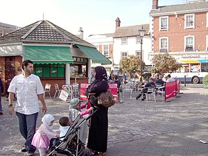 English: The open air cafe in Bedford Market i...