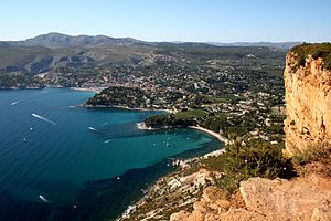 Cassis, a city in southern France, seen from t...