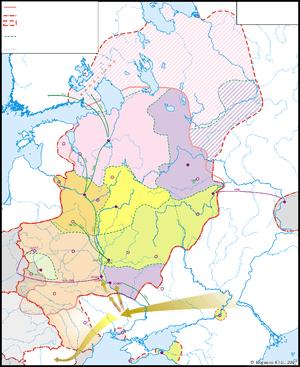 English: Map - Kievan Rus in 1015-1113 (blank)...