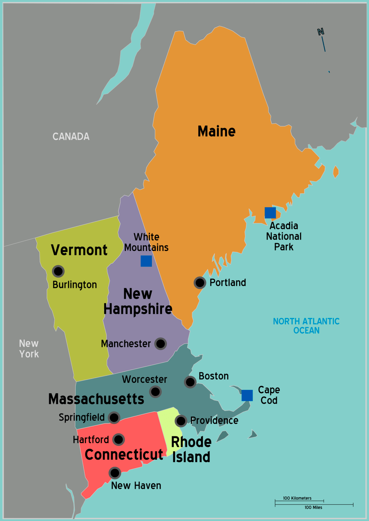 Map North Eastern Usa