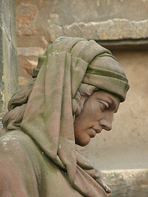 Photo de la statue de Martin Schongauer (detai...