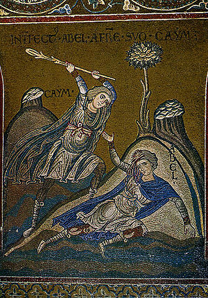 Cain and Abel. Byzantine mosaic i =n Monreale