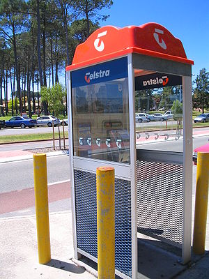 A common Telstra phone box