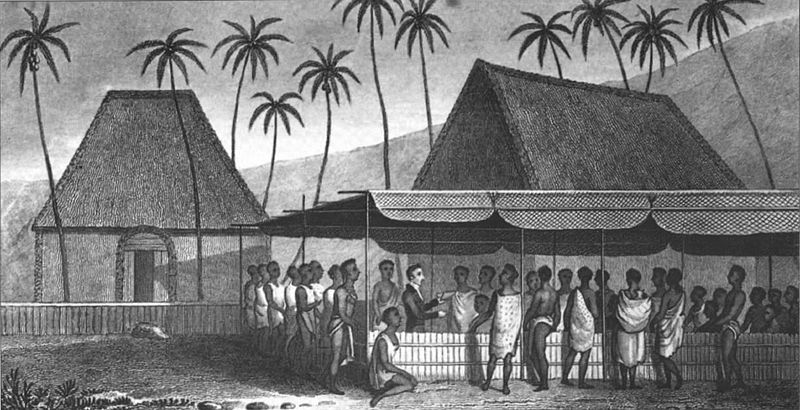 File:'A Missionary Preaching to the Natives, under a Skreen of platted Cocoa-nut leaves at Kairua' by William Ellis.jpg