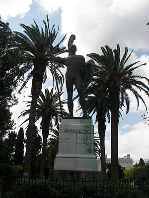 Achilles as guardian of the palace in the gardens of the Achilleion in Corfu. He gazes northward toward the city. The inscription in Greek reads: ΑΧΙΛΛΕΥΣ i.e. Achilles