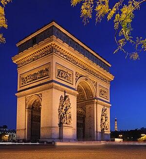 The Arc de Triomphe (Arch of Triumph), at the ...
