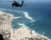 US Army helicopter shortly before Battle of Mogadishu, 1993