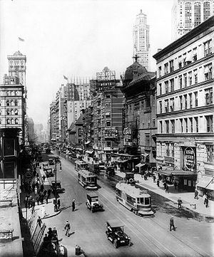 Broadway north from 38th St., New York City, s...