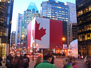 Giant Canadian flag in downtown Vancouver