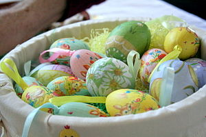 Decorated Easter eggs in basket.