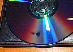 A photograph of a digital disc with disc rot.