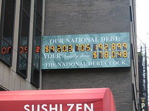 US national debt clock / billboard. Picture wa...